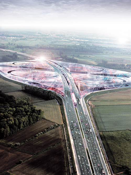 Dirk Coopman Architect highway economy urban planning autostrade automated transport motorway autoroute industrial zones industrial areas ecology motorway junction motorway intersection bleu banana bleu banana logistics